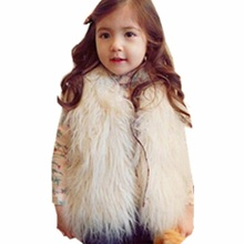 2017 Winter Fall Baby Toddler Vest Girl Vests Tan Waistcoats Faux Wool Fur Vest Kids Girls Clothes Child Jackets Coats JW0237A(China)
