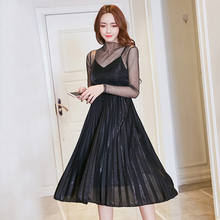 New Fashion Womens Dress Spaghetti Strap Pleated Dress Mid-Calf Sexy V-neck Dress Free Gauze Long Sleeve Jacket(China)