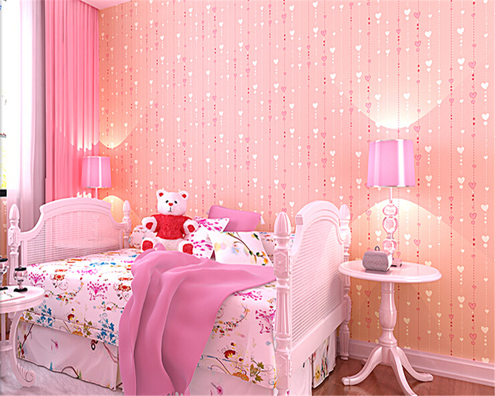 beibehang papel de parede Children room girls bedroom non woven wallpaper background wall pink peach vertical stripes stamp  <br>