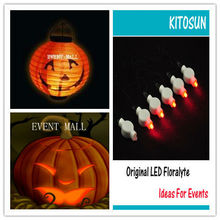 10pcs* CR2032 Halloween pumkin 12colors led light for wedding party decoration Hanging paper lantern lamp outdoor party supplies