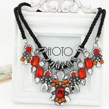 SPX6204 Fashion Big Chunky Statement Crystal Necklace crystal  Beads Waterdrop Blue Stone Leather statement necklaces