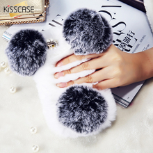 KISSCASE Cover For iPhone 6 6S 6 Plus 6S Plus Phone Case Plush Warm Soft Rabbit Fur Stand Case For iPhone 6 6S Plus Fluffy Shell