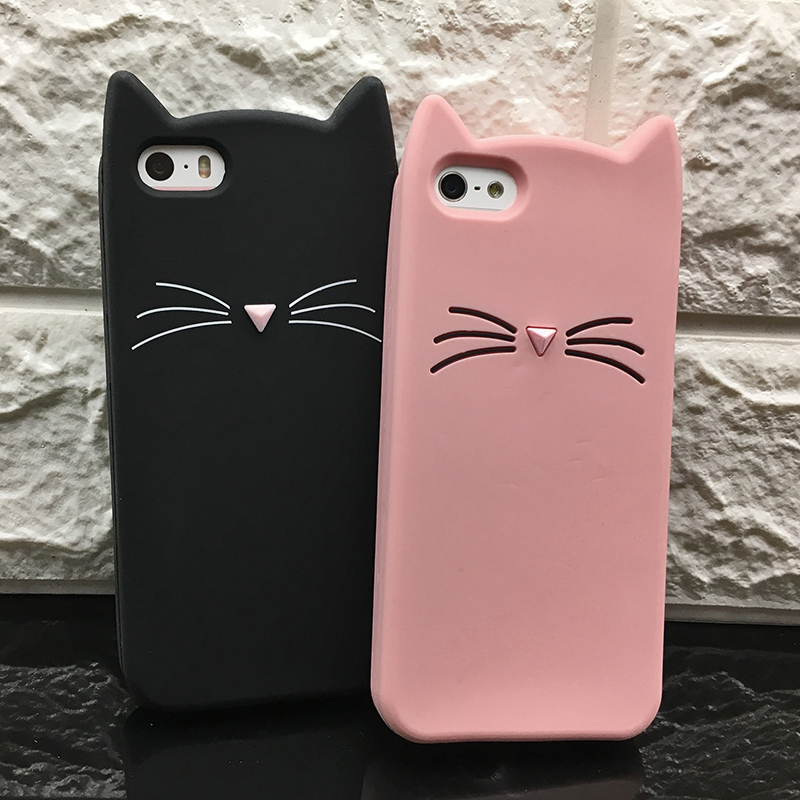 Case Cover For Iphone 5 5SCute Silicone 3D Glitter Soft TPU Cat Phone Cases Apple 6 6s 7 8 11 X XR Xs Max Fundas Coque For Girl