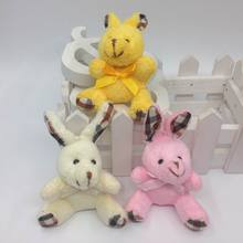 "New Design 6cm(2.4"") Lovely Little Plush Sitting Bunny Rabbit With Scarf Bag Jewel Craft/baby shower/decoration/bow Soft Toys"