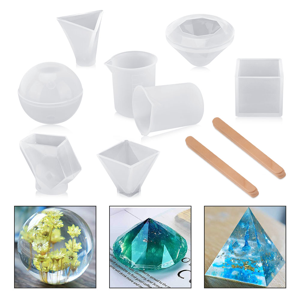 Candles Makes 30 Crystals Ice Cube Jewelry Silicone Crystals Mold for Resin Soap 4 Unique Shapes