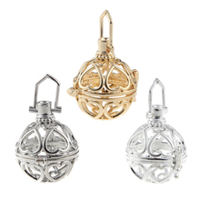 Exquisite Heart  Hollow  Ball Box Pendant Copper Crown Essetial Oil Diffuser Necklace Locket Pendants For DIY Perfume Jewelry