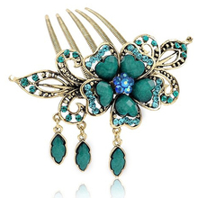 Vintage Wedding Flower Rhinestone Hairpin Women Hair Accessories Diamante Floral Green Crystal Bridal Hair Comb