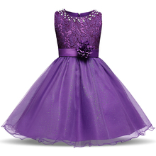 Brand Kids Dresses For Girls Party Wear Flower Wedding Gown Baby Girl Frocks Children Girl School Prom Clothes 10 Years Ceremony(China)