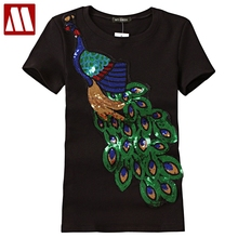 2018 Noble Elegant T shirt Women Peacock Sequined Sequins T-shirt Womens Fashion New Top Tee Shirt Femmer Lady Sakura Clothes(China)