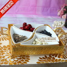 The new European luxury alloy ceramic grid / isolation combined with diamond plated nuts snacks candy dish dish
