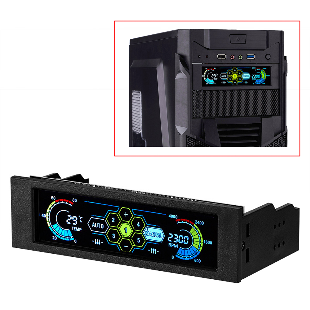 2017 New Fan Controller Display 5 Sets LCD Touch Screen Temperature Automatic CPU Case fan speed controller LCD Front Panel<br>