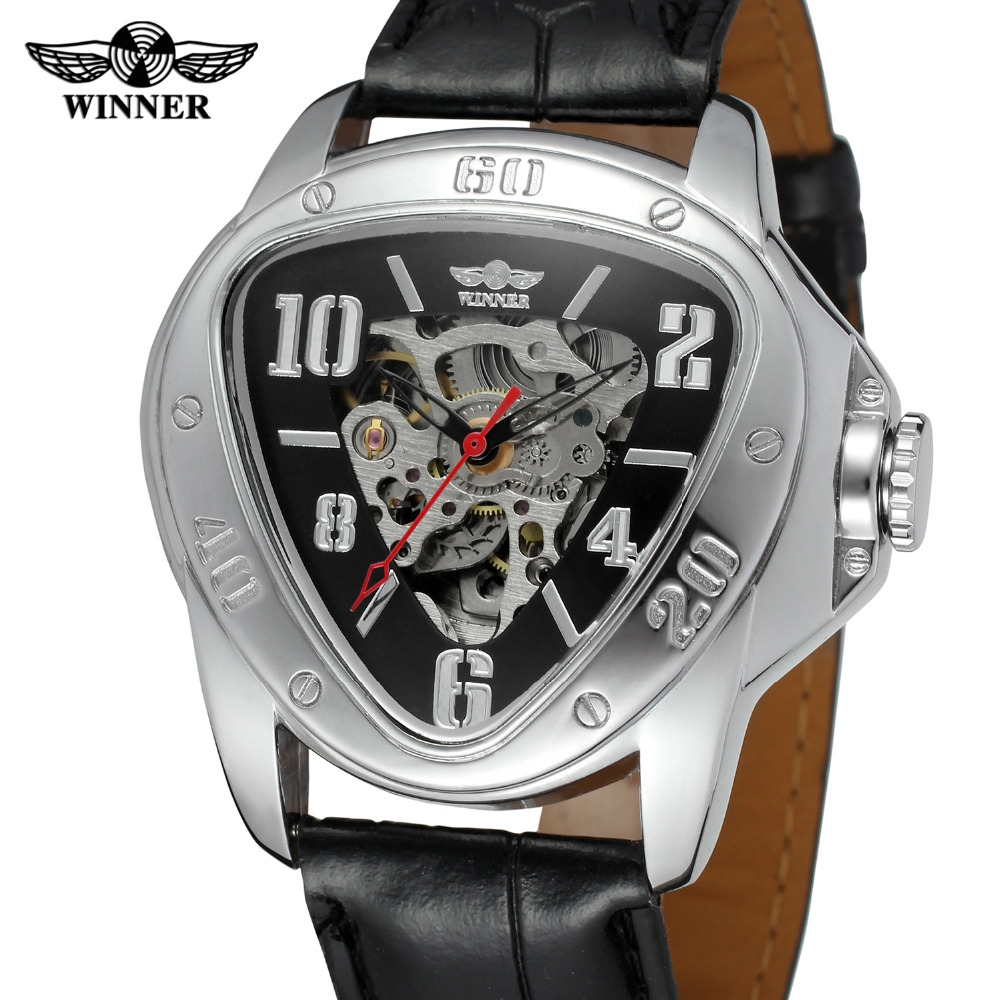 T-Winner Mens Watch Triangle Automatic Movt Skeleton Leather Strap Analog Crystal Brand Best Wrist Watch Color Black WRG8108M3<br>