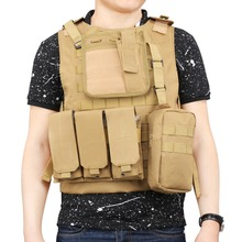 Hot Sale Molle Tactical Vest Modular Plate Carrier for Outdoor Airsoft Paintball Combat CS Field Hunting Training (Army Yellow)