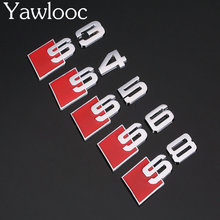 Yawlooc 3D Aluminum Alloy S3 S4 S5 S8 S Line Car Tail Sticker Emblem Badge Logo Metal Rear Tail Badge Sticker Logo For Audi Car