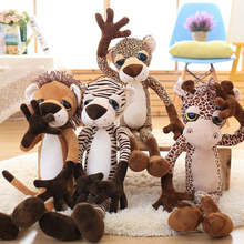 Cute Stuffed Animals With Big Eyes Soft Toys For Girls Lion Zebra Leopard Plush Toy Cute Giraffe Stuffed Animal Giant 70C0559(China)