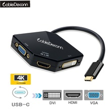 CableDeconn USB-C USB3.1 Type-c Thunderbolt 3 to HDMI 4K VGA DVI 1080P Cable Adapter for Samsung S8 Macbook Pro Dell XPS 13 15