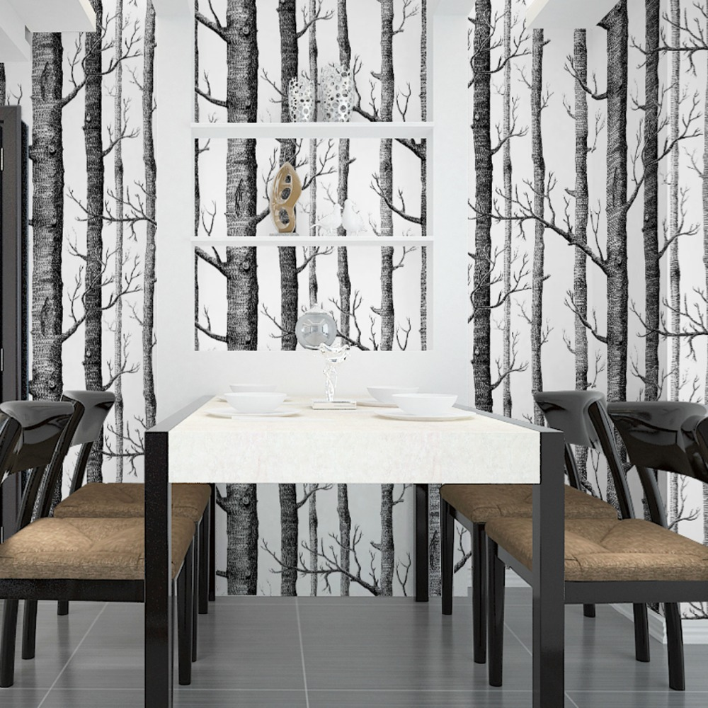 Birch tree wallpaper bedroom