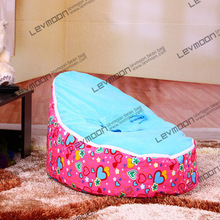 FREE SHIPPING baby bean bag with 2pcs sky blue up cover baby beanbag baby chair baby seat bean bag covers only(China)