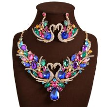 2017 Wedding band colorful stone jewelry set earrings necklace accessories for women statement necklace costume jewellery N10119