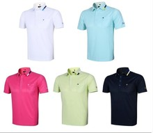 Teetimes Men's Quick Dry Golf Polo Short Shirt Pure Color Slimly Golf Apparel Golf Clothing 5 Colors Free 3D Embroidery Logo(China)