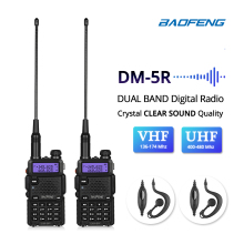 2pcs Baofeng DM-5R Walkie Taklie Dual Band DMR Digital Ham Transceiver 1W 5W VHF UHF 136-174/400-520 MHz Two Way Radio 2000mAH