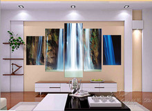 5 Panel Modern Painting Home Decorative Art Picture Paint on Canvas Prints A huge waterfall majestic fascinating gallop down