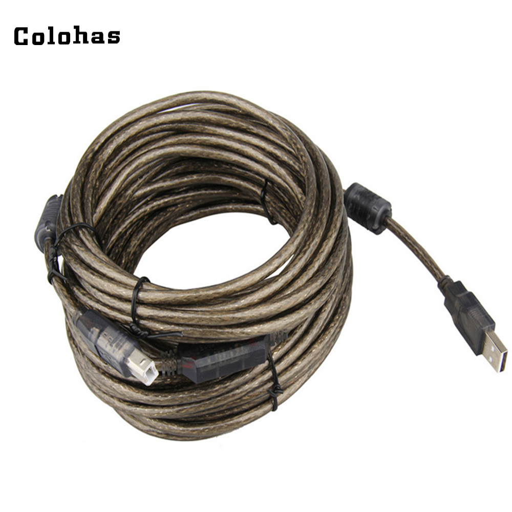 10m 15m USB 2.0 Printer Cable USB A to B Male to Male Data Transfer Cable with IC Chip Computer Converter Extension Cable<br>