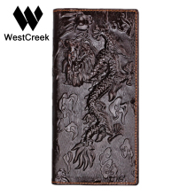 Brand Unique Design Chinese dragon Pattern Genuine Leather Men's Wallets High Quality Really Leather Purse by GMW008(China)