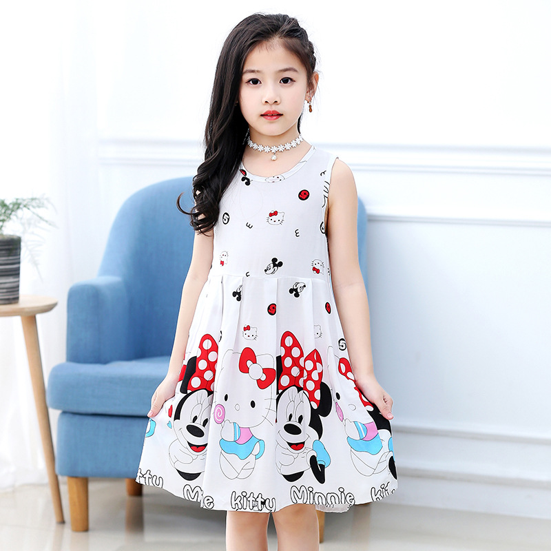 18 New Casual Dress Summer Style Sleeveless Cartoon printed pure cotton for Girls Dress 3-10 Years Children Clothing 3