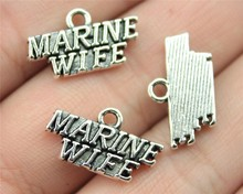 7pcs antique silver color 19*11mm MARINE WIFE Charms Pendant For DIY Handmade Jewelry B13424