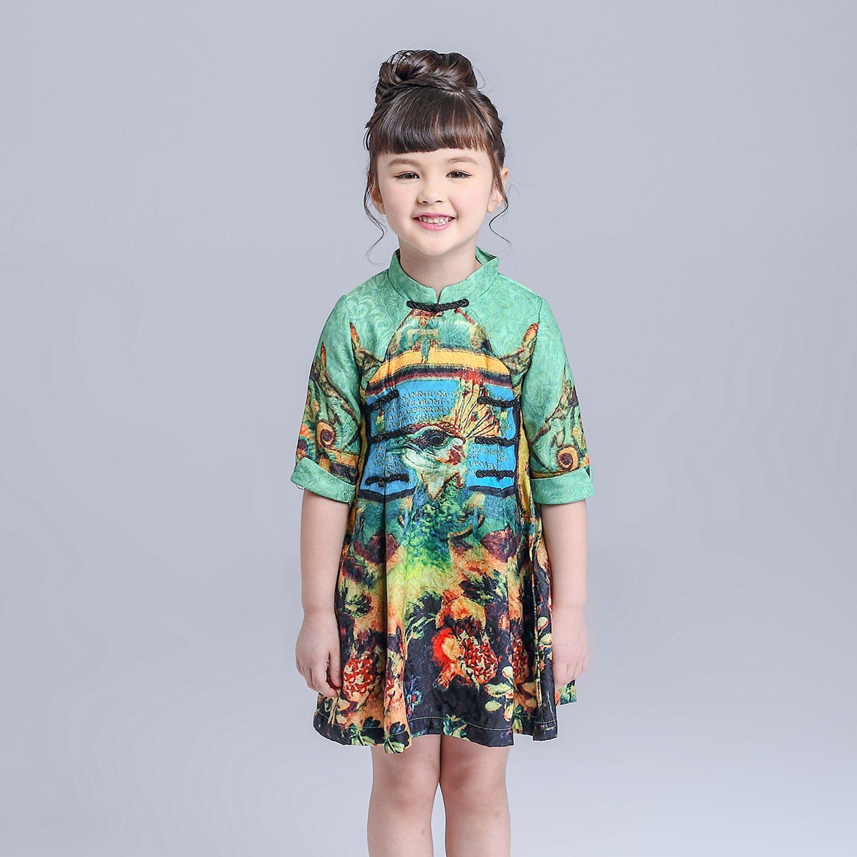 Chinese Knot Peacock Brocade Dress Girl Autumn Vestido Infantil High Quality Fifth Sleeve Cotton Cheongsam Collar Kids Dress<br><br>Aliexpress