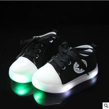 New China Cool LED Lighted Kids Canvas Shoes Hot Sales Fashion Boys Girls Child Sneakers Lovely Baby Lunimous Boots Sport Shoes(China)