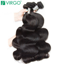 VOLYS Virgo Hair Malaysian Body Wave Human Hair Weave Bundles Natural Black Remy Mixed Length 10inch-28inch Can Buy 3/4 Bundles(China)