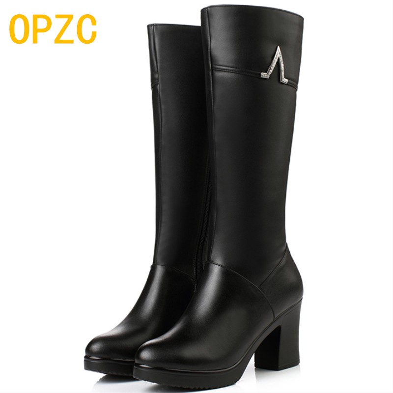 OPZC Women Shoes New Winter Genuine Leather boots high-heeled Mid-calf women long boots warm snow boots Lady Fashion shoes