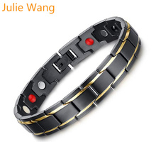 Julie Wang Fashion Trend Between Electric Treatment Magnetic Gold Black Health Titanium Bracelet Men Accessory Sport Bangles(China)