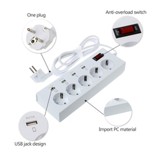 3/4/5 AC Power Sockets+6 USB Outlets Surge Protected Extension Lead Adapter Cable EU Plug #W0824S#
