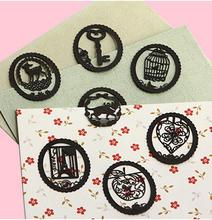 32 pcs/Lot Lace Metal Bookmark Clips Cute Cartoon fairy tale Animal Paint Black Bookmarks Stationery Gift book line marker 1621
