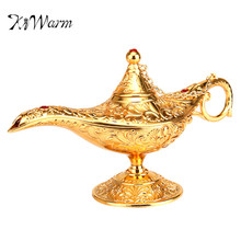KiWarm Vintage Metal Carved Aladdin Lamp Light Wishing Tea Oil Pot Decoration Collectable Saving Collection Arts Craft Gift