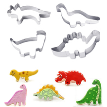 4Pcs/Set Silver Stainless Steel Dinosaur Animal Fondant Cake Cookie Biscuit Cutter Decorating Mould Pastry Baking Tools EJ877084