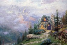 Sweetheart Cottage by Thomas Kinkade oil painting poster fabric canvas wall poster print
