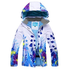 Women's Waterproof Fleeced Windproof Ski Jackets With Removable Hooded Ladies Snowboard Jacket Flower Printed Snow Wear Clothes(China)