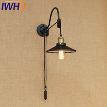 IWHD Loft Style Lift Edison Wall Sconce Industrial Wall Lamp Iron Mirror Glass Vintage Wall Light Fixtures Lampe Murale(China)
