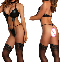 Sexy Lingerie Hot Women Prisoners Wild Charm Pu leather Teddy Sexy Babydoll Erotic Lingerie Lenceria Sexy Costumes QP005(China)