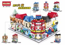 City Series Building Blocks street center CBD Architecture Bank financial center book shop theater compatible with  legoingly