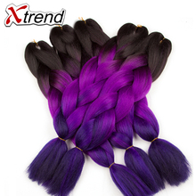 Xtrend Ombre Kanekalon Braiding Hair Expressions 24inch 100g Synthetic Jumbo Braids Crochet Hair Fiber 10PCS/Lot Heat Resistant