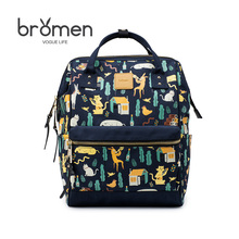 Bromen Fashion Personality Oxford Cloth Cartoon Printing Women Backpack 2017 New Hot Sale Ladies All-match Tote Small Schoolbag(China)