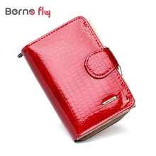 2017 new pattern Genuine leather women short wallet ladies Wallets Cowhide 3 Colors classic crocodile pattern purse bag(China)
