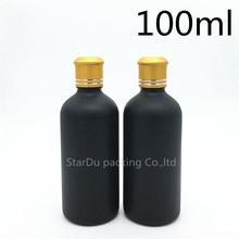 Free Shipping 10pcs 100ML Black Frosted Glass Bottle 100ml Vials Essential Oil Bottle with gold cover Perfume bottles
