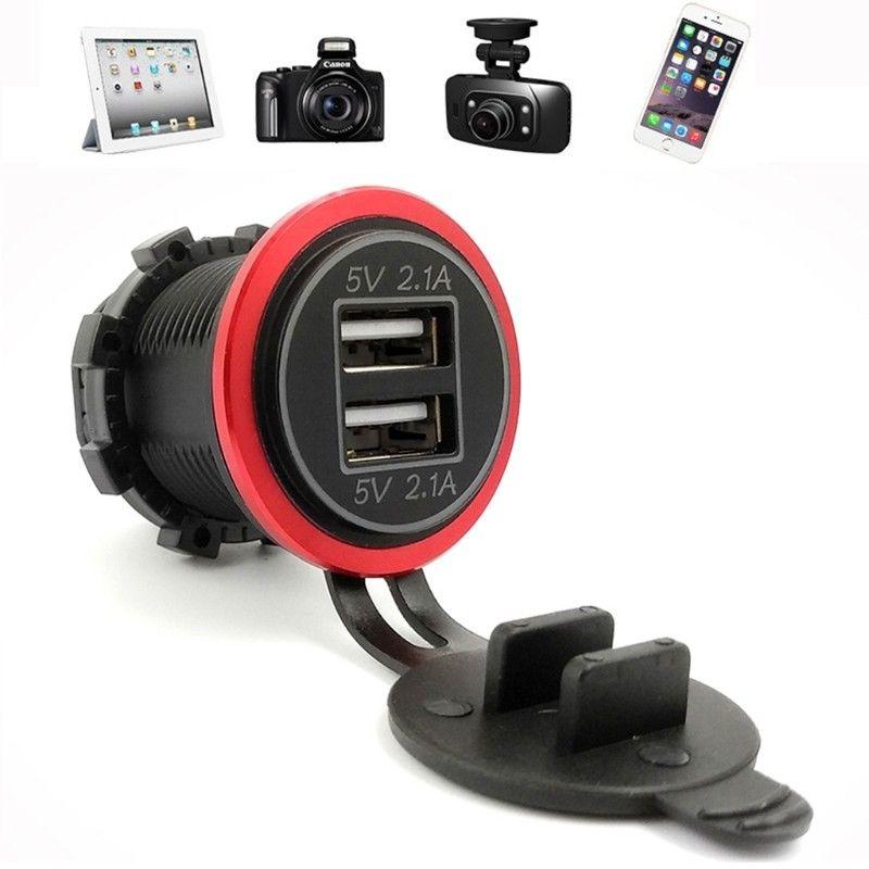 12V - 24V 4.2A Car Dual USB Charger Motorcycle Boat Cigarette Lighter For Mobile Phone Tablet 2 Ports Charger Red/Green/Blue