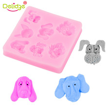 Delidge 1pc Cute Dog Head Shape Silicone Fondant Mold 3D Candy Soap Baking Moulds Cheap Cake Decorating Tools